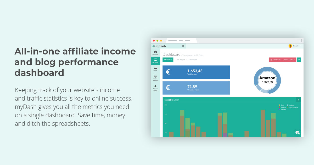 all-in-one affiliate income and blog performance dashboard