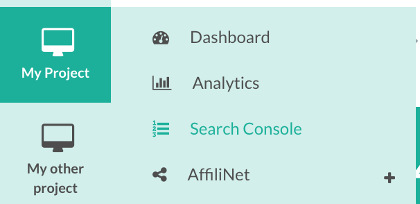 Search Console in navigation